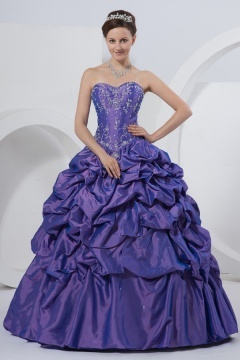 St Albans Purple Strapless Embroidery Prom Dress