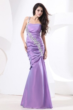 St Asaph Strap Sequin Applique Mermaid Purple Prom Dress