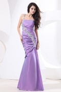 Taffeta One Shoulder Sequin Applique Mermaid Formal Dress