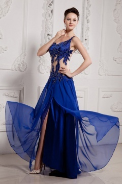 Robe de soirée longue bleue transparente à fente latérale sexy