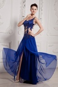 Sexy 30DChiffon One Shoulder Applique Formal Dress