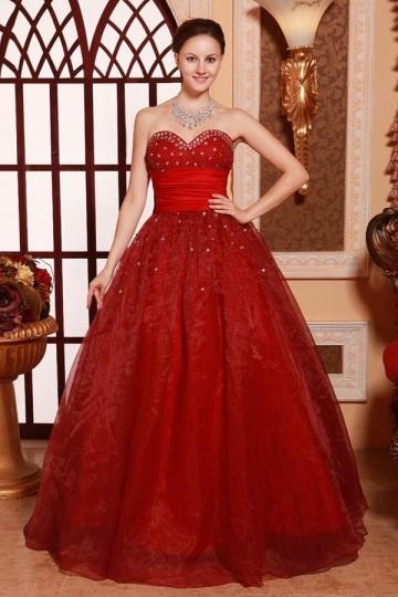 Vestidos de Baile Império decorado de miçanga e strass vermelho escuro