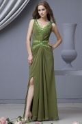 Chiffon V neck Beading Ruching A line Long Formal Dress