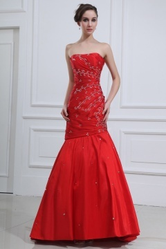 Rushden Red Strapless Ruching Mermaid Grad Dress