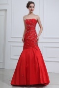 Taffeta Strapless Beading Ruching Mermaid Formal Dress