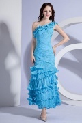 Chiffon One Shoulder Ruffle Ruching Mermaid Formal Dress