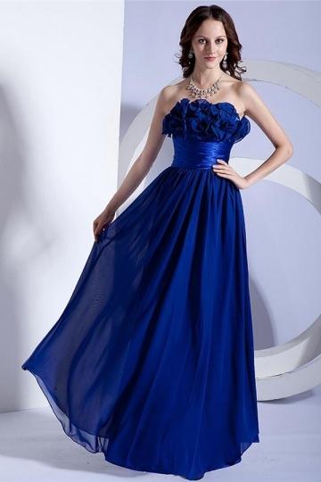 Vestido de noite azul escuro linha A flores feitas à mão