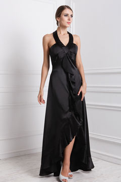 Rugby Black Halter Ruffle High Low Grad Dress