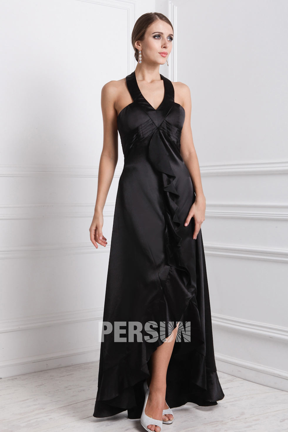 Plus Size Wedding Dresses Rugby : Rugby elastic woven satin halter ruffle high low prom dress on sale