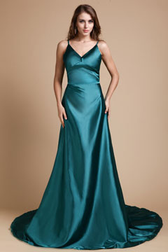 Royston Green Straps V neck Empire Grad Dress