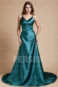 Simple Silk Like Satin V neck Empire A line Formal Dress