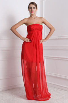 Sexy Strapless Chiffon Sheer Skirt Red Prom Dress
