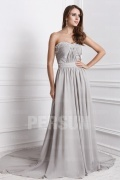 Elegant Chiffon Strapless Beading Ruching Formal Dress