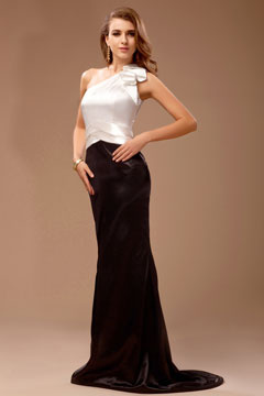One Shoulder Column Color Block Prom Dress
