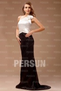 Stylish Elastic Woven Satin One Shoulder Mermaid Formal Dress