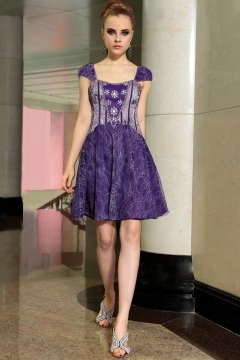 Sutton in Ashfield Classic Purple Cap sleeve Vintage Lace Party dress