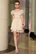 Simple Chiffon Ruching Ruffles Beading A line Prom / Evening Dress