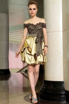 Stapleford Off shoulderColour block Lace Golden Prom Gown