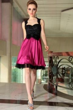 Robe de cocktail courte contraste noire et rose empire