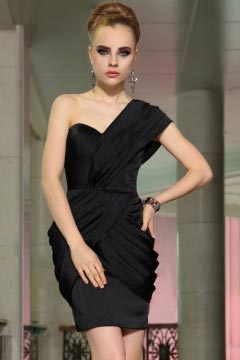Stamford One Shoulder Draped Black Thigh length Party Dress