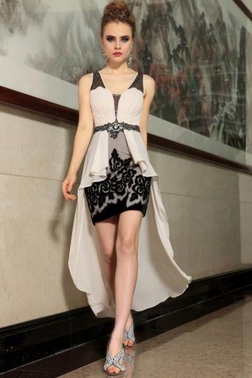 Modernes V-Ausschnitt Perlen Spitze High-Low Partykleid aus Chiffon ...