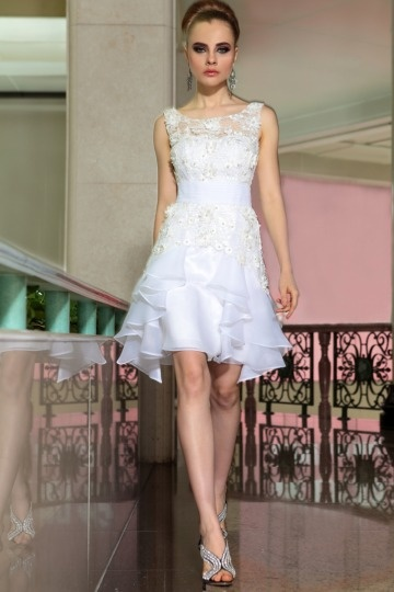 Dressesmall Beautiful Organza Boat Neck Lace Ruffle Formal Dress