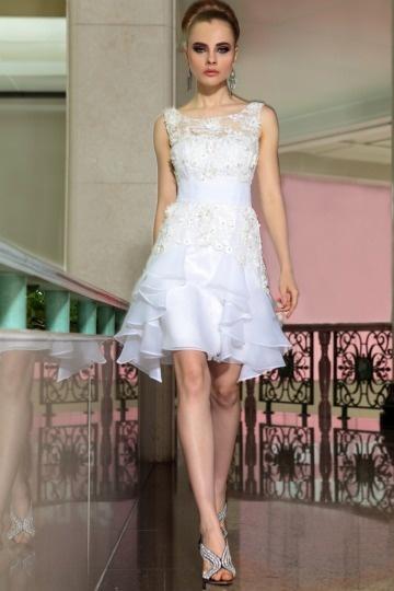 Dressesmall Beautiful Organza Boat Neck Lace Ruffle Formal Dress