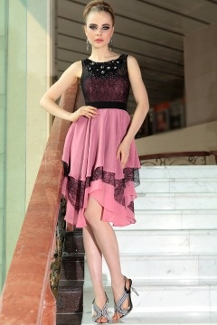 Stone Color block Lace Party dress