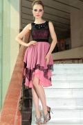 Elegant Chiffon Elliptic Collar Lace Beading A line Formal Dress