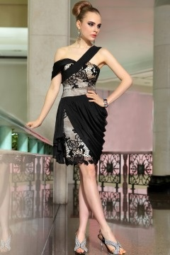 Stocksbridge Lace Embroidery Black Homecoming dress