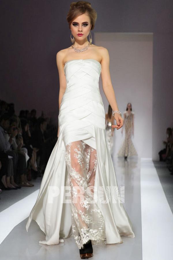 Elégante Robe de soirée sirène blanche dentelle ruchée en satin soyeux