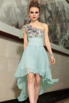 Stony Stratford Empire One shoulder Green UK Prom Gown