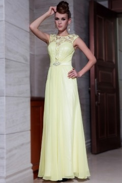 Stowmarket Graceful Lace Light yellow Empire Evening Gown