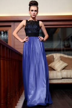 Swadlincote Lace Applique Blue Prom Gown