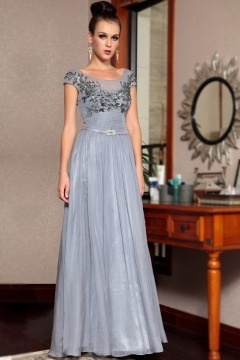 Spilsby Cap sleeve Applique Empire Gray Evening Dress