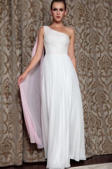 Vestido de noite um ombro decorado de jóias Chiffon branco