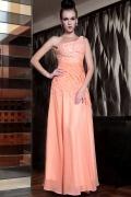 Vestido de noite um ombro decorado de jóias em Chiffon laranja