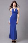 Vestido longo de noite sem costas sereia strass em Chiffon azul