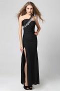 Vestido longo de baile sereia um ombro cetim suave preto