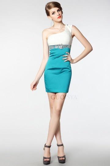 Vestido curto cocktail plissado strass cetim suave azul e branco