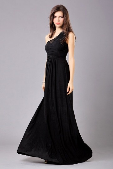 Vestido preto de noite Império um ombro decorado de miçanga em Chiffon
