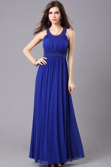 Vestido de noite azul linha A Vestido longo em Chiffon