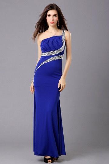 Vestido de noite azul um ombro com fenda lateral em Chiffon