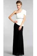 Long Elegant Mermaid One Shoulder Black and White Cocktail Dress