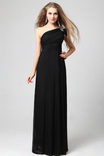 Vestido de noite linha A decorado de strass em Chiffon preto