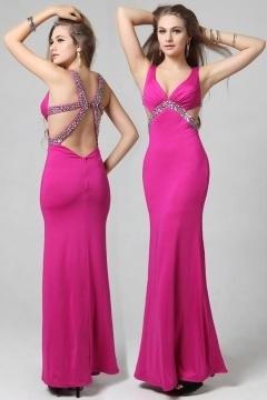 Sexy robe empire découpe dos nu décolleté plongeant en mousseline embellie de strass