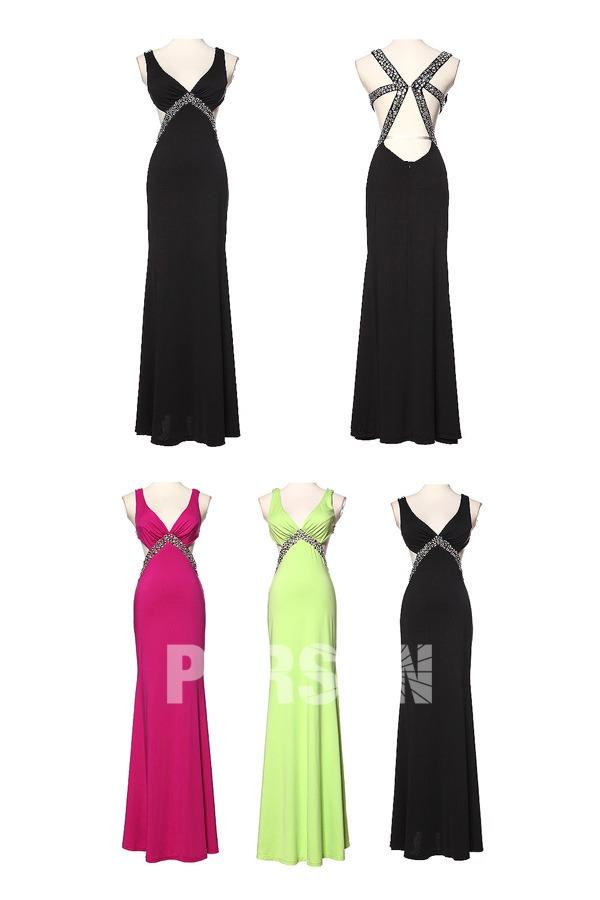 sexy robe empire d coupe dos nu d collet plongeant en mousseline embellie de strass. Black Bedroom Furniture Sets. Home Design Ideas