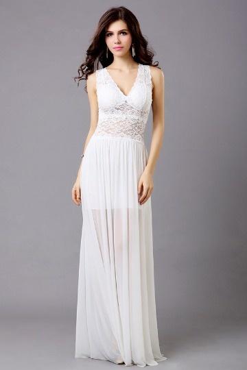 Sensual Vestido branco renda Vestido longo linha A