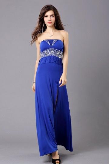 Vestido de noite bustiê decorado de strass em Chiffon azul