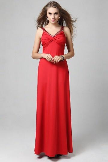 Vestido vermelho de noite decote em V pregueado Vestido longo Chiffon